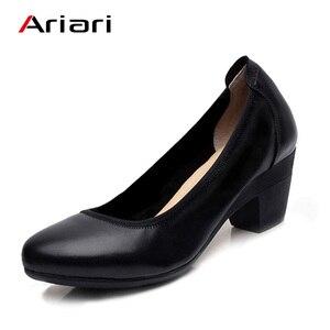 Image 4 - Ariari אמיתי עור נשים שמלת נעליים נוח רך עבודה גבוהה עקבים נעלי אלגנטי משרד ליידי עגול הבוהן משאבות גודל גדול 43