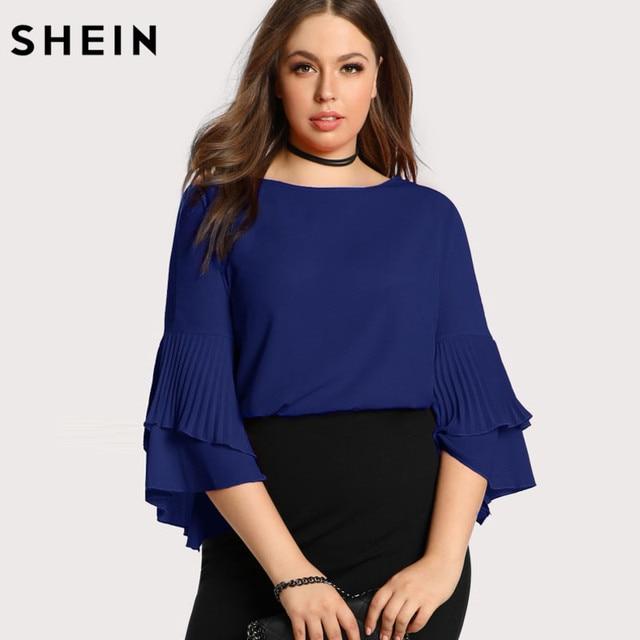 e284ffbb2a3 SHEIN Blue Plus Size Women Blouse Fashion Navy Blue Casual Elegant Female  Blouses Spring Autumn Three
