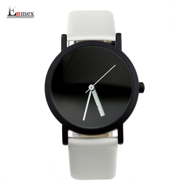 2017 Enmex creative design  wristwatch blackand white hit colour fashion Changeable number simple design  fashion quartz watches