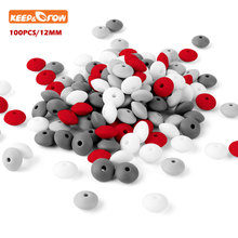 Keep&grow 100Pcs Silicone Beads 12mm Abacus Lentils Beads Baby Products