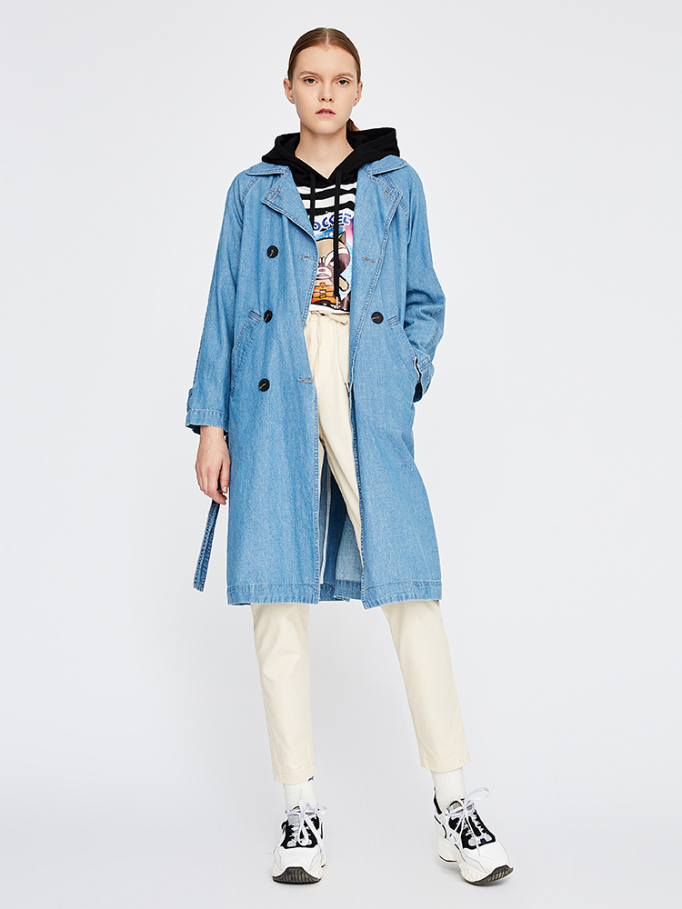 Toyouth Long Trench Coat Winter Women Jeans Casual Coats Ladies Long Sleeve Trench Plus Size Double