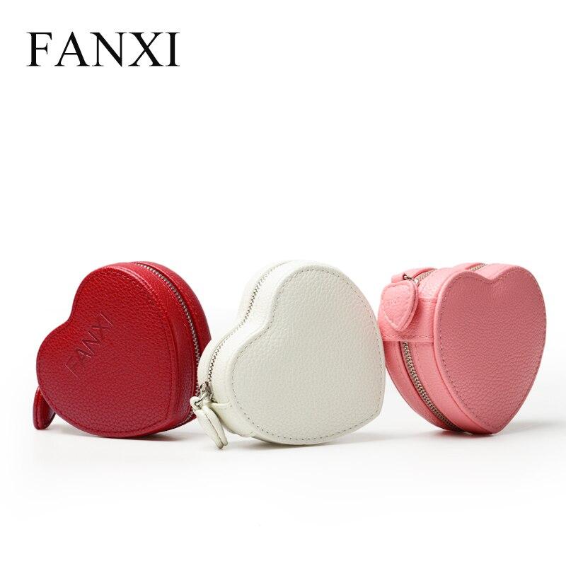 Caja de regalo de la joyería del cuero de la PU de moda de FANXI con la pulsera interna del terciopelo de la forma del corazón que empaqueta el organizador de la joyería del almacenamiento
