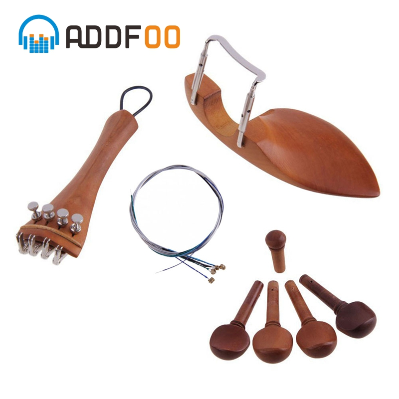 ADDFOO 4/4 Violin Accessories Parts Chin Rest Tailpiece Fine Tuner Tuning Peg Tailgut Endpin Strings Kit For Violin Replacement