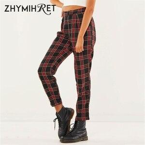 Image 2 - ZHYMIHRET  2020 Autumn Cotton Straight Plaid Womens Pants  Ankle Length Zipper Capris Casual Mid Waist Trousers Pantalon Femme