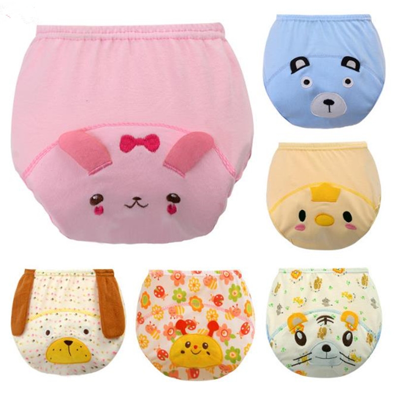 2Pcs Cloth Diaper Cute Baby Cotton Training Pants Baby Reusable Diapers  Washable Infants Nappies Diapers