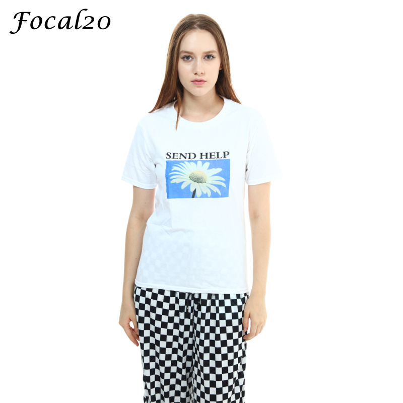 Focal20 Harajuku Daisy Print Women T-shirt Short Sleeve Send Help letter Print Loose Summer T Shirt Tee Top Streetwear