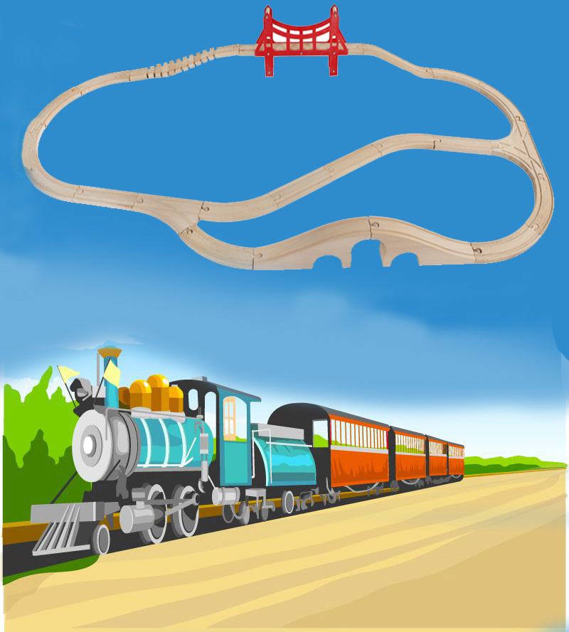 Wooden Railway Straight and Curved Expansion Track Take-n-Play Motorized Electric Train For Wooden Track Train Master ToysWooden Railway Straight and Curved Expansion Track Take-n-Play Motorized Electric Train For Wooden Track Train Master Toys