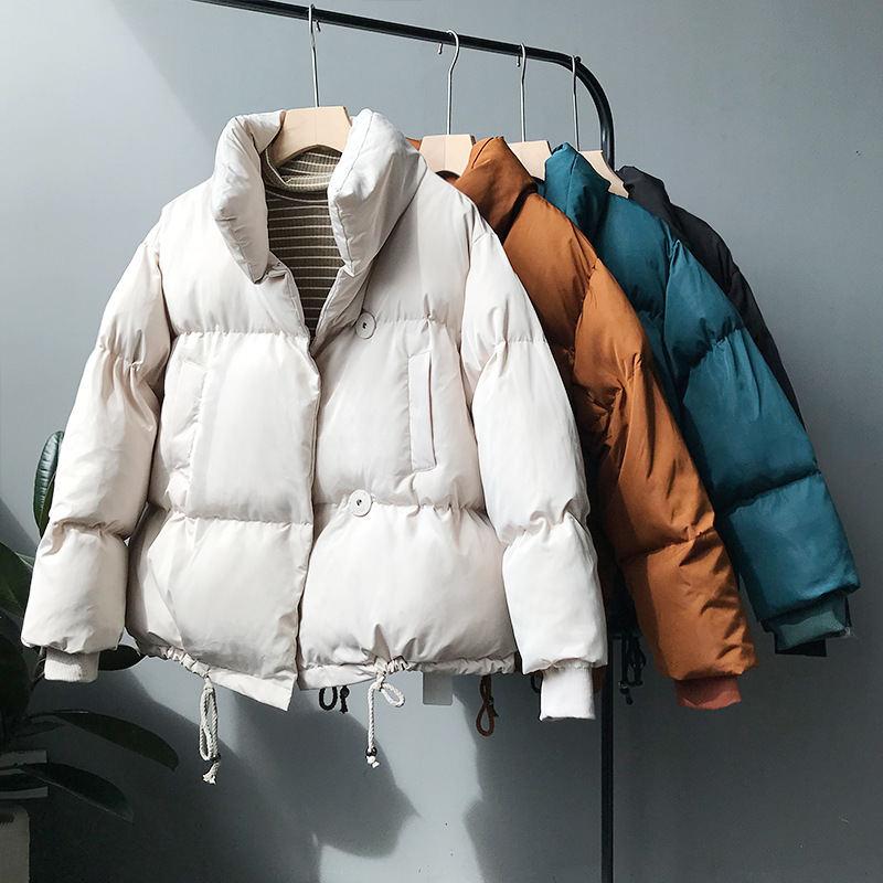 Winter Down Jacket Women   Parka   Coat BF Style Warm Thicken Oversized Coat Outerwear Single-breasted Short Women Winter Coat Q983