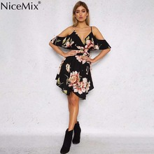 NiceMix 2019 New Summer Spaghetti Strap Women Dress Floral Print Ashes Ladies Vestidos Asymmetrica Neck Female summer