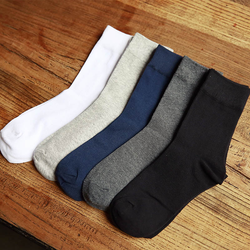 Plus Size  High Quality Men Business Cotton Socks Brand Dress Black Ankle White Casual Cheap Designer Pantufa In Tube