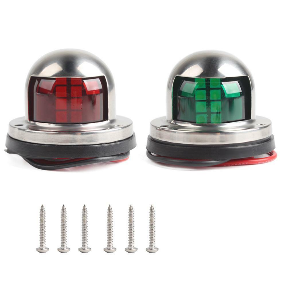 1 par de aço inoxidável + abs vermelho verde luz navegação barco marinho indicador ponto luz marinha barco acessório iate vela