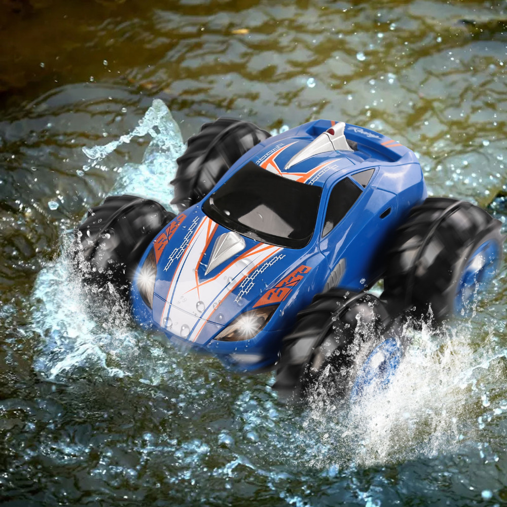 RC Car Powerful Amphibious vehicle Drives on Land & Water RC Car Control Range 360 Degree Spins LED Headlights