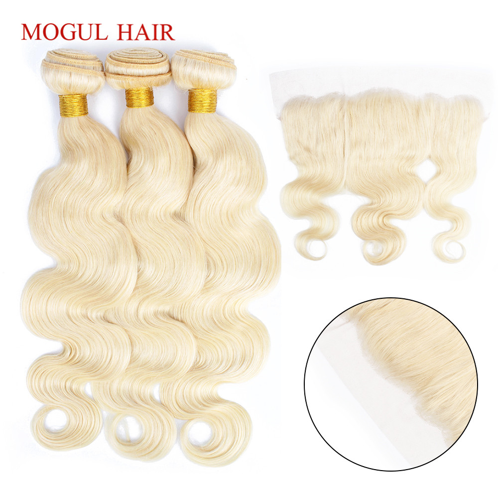 MOGUL HAIR Platinum Blonde 613 Bundles With 4*13 Ear To Ear Frontal Indian Body Wave 2/3 Bundles Remy Human Hair Weave 10-28inch