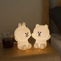 Ins Hot Creative Line Friend Brown Bear Cony Rabbit LED Night Light USB Charge Silicone Bedside Lamp Home Bedroom Desk Lamp