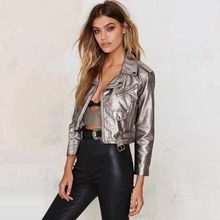 Autumn new trend of women fashion street punk patent leather motorcycle leather clothing short design jacket free shipping