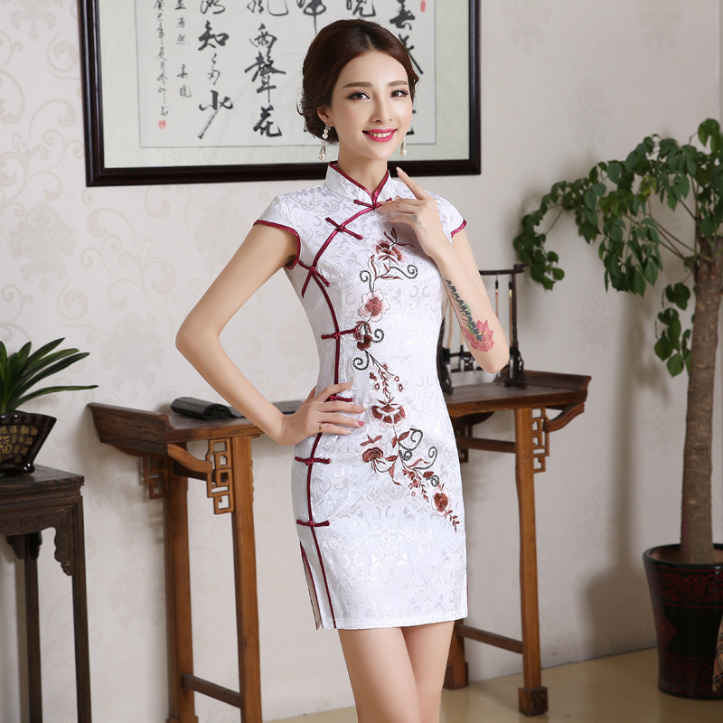 Chinese Women White Flower Wedding Qipao Vintage Mandarin Collar Cotton Mini Cheongsam Plus Size Short Sleeve Evening Dress
