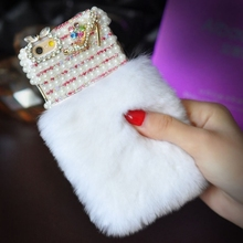 Bling Crystal Diamond Luxury Rabbit Fur Furry Warm Case Cover For iPhone4S 5S 5C 6/6P 7/7P & SamsungS3 S4 S5 S6 S7E S8P N3 N4 N5
