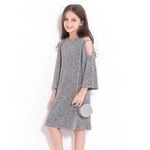 Tienermeisjes kleden 10 tot 12 jaar Europese stijl off-shoulder A-lijn jurk Grote meisjeskleding herfst winter kinderen meisjesjurk