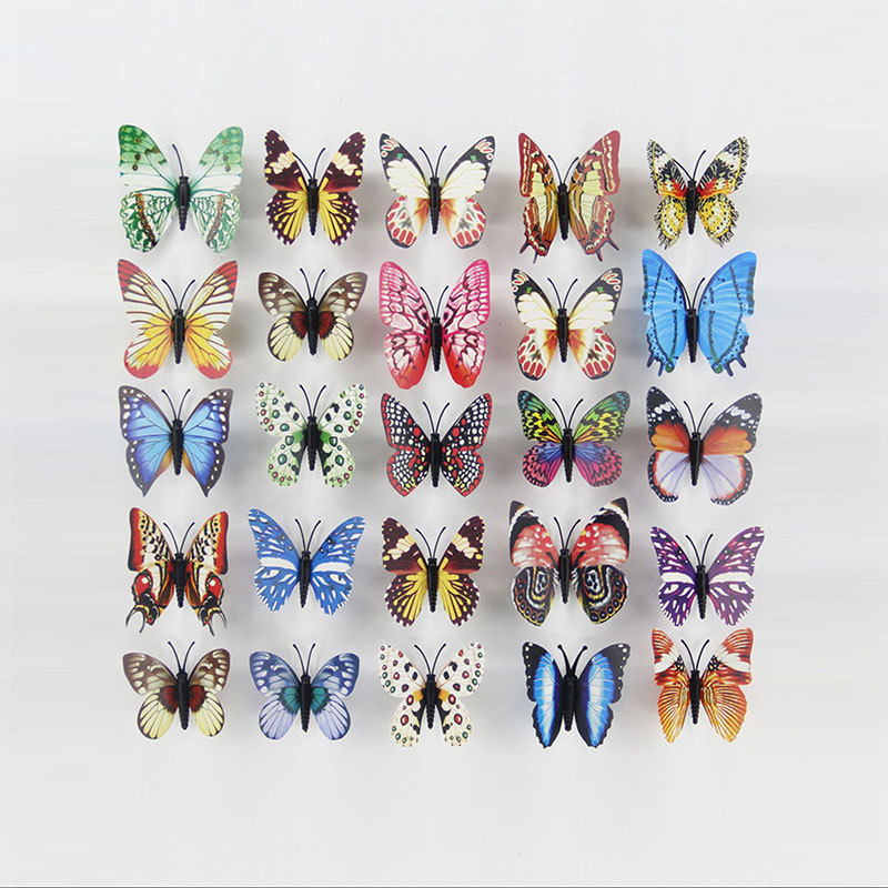 12 Pcs Simulation Luminous butterfly 3D Wall StickerHome festival decoration Glow in the dark Magnet Butterflies stickers 8cm