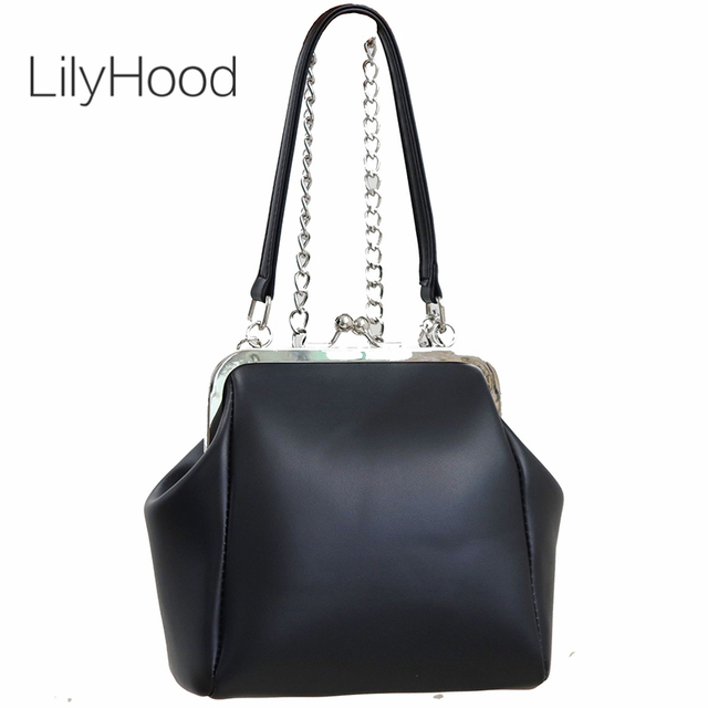 e8f29cd35f78 Old Fashion Kiss Lock Handbag Female Classical Vintage Retro PU Leather  Chain Black Crossbody Bag for