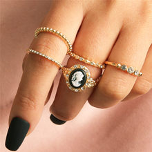 ZORCVENS Bohemian Vintage Gold Color Geometric Joint Ring Set for Women Crystal Personality Design Ring Set Party Jewelry(China)