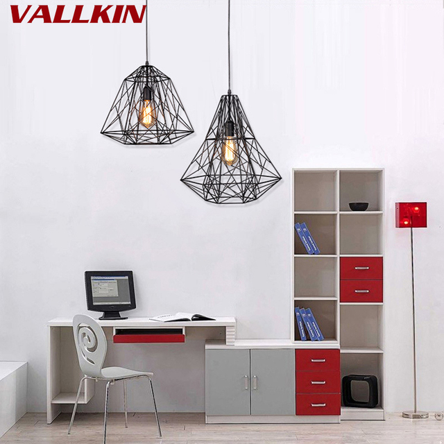 Modern Black Cage Pendant Lights Iron Minimalist Retro Scandinavian Loft Pyramid Lamp Metal Hanging Lamp E27 Indoor Home Lamp