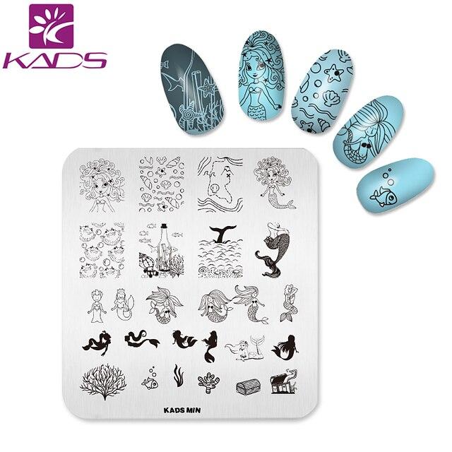 KADS MIN Mermaid design plate Nail Art Stamp Stamping Plates Nail ...