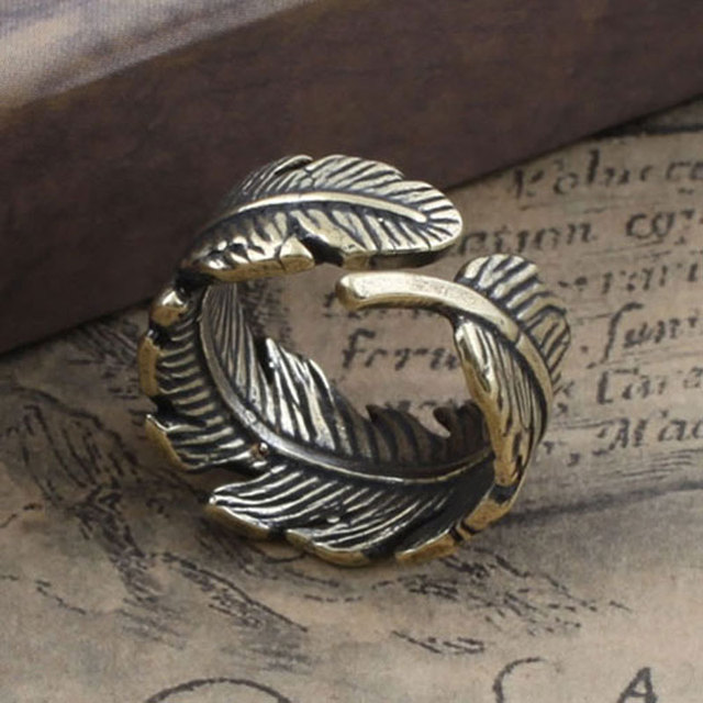 Fashion Jewelry Gothic Punk Adjustable Copper Olive Leaf / Feather Ring, High Qu