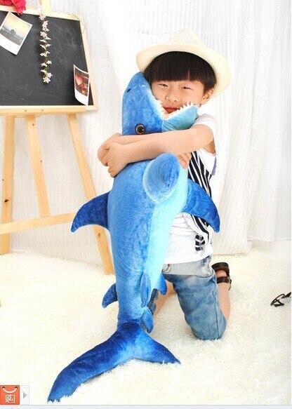 110 cm requin bleu foncé en peluche jouet simulation requin poupée cadeau w4627