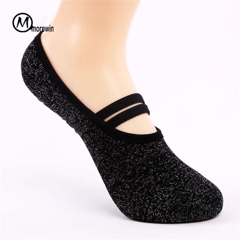 Morewin Cotton Bandage Yoga Socks Backless Womens Anti-slip sports Fitness Sox Compression Ladies Pilates Socks Dance Socks