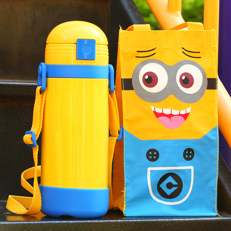 450ml Kids Thermos Cup Cartoon Straw Thermal Stainless Steel Vacuum flask 3D Sticker Thermo Mug Insulated