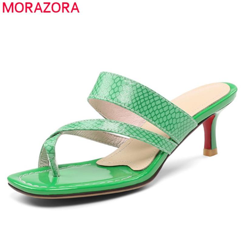 MORAZORA 2019 top quality genuine leather shoes women sandals unique stiletto heels shoes flip flops sexy