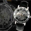 Nova Moda de Couro dos homens Clássicos Dial Esqueleto Esporte Exército relógio de Pulso Mecânico Relógios Mens Relógios Top Marca de relógios por atacado