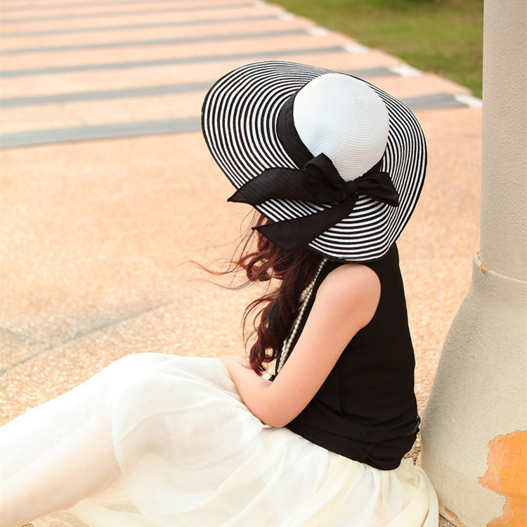 8pcs free shipping/2016-A1205 Hepburn style black white bowknot wide-brim outdoor beach hat England hat summer men & women
