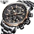 2019 neue LIGE Mode Herren Uhren Luxus Marke Voller Stahl Business Quarzuhr Männer Sport Wasserdichte Uhr Relogio Masculino-in Quarz-Uhren aus Uhren bei