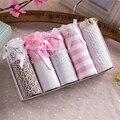 Conjunto de Cinco peças de presente-Sexy Lace Mulheres Calcinha Lingerie de Algodão Branco Meninas Bonito Cintura Baixa Calças Cuecas Cueca Bragas HC1875