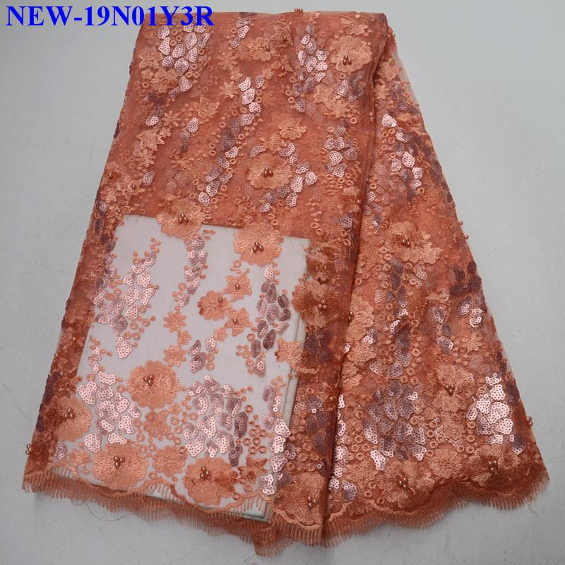 Sequence Nigerian Peach Lace Fabric Bridal Fashion Embroidery African French Lace Fabric 5 Yards Tulle Net