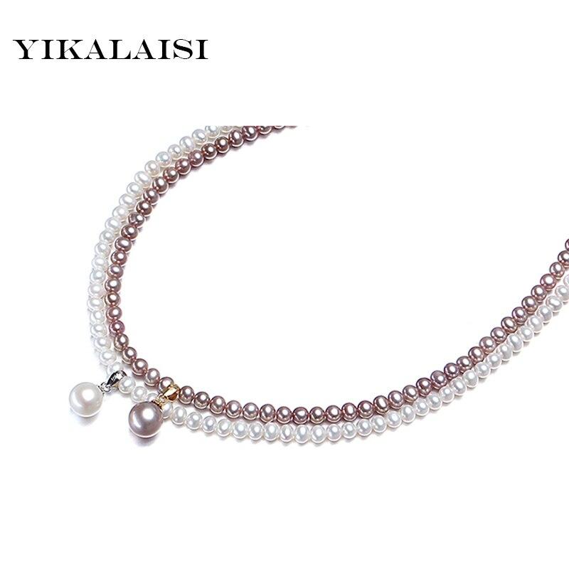 YIKALALSI 2017 Naturel D eau Douce Collier de Perles avec pendentif fermoir en  argent Perle Bijoux De Mode Colliers pour les femmes 0aab28584c15