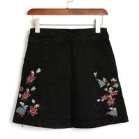 Negro bordado de flores de verano faldas ropa de mujer 2017 moda vintage delgado pantalones vaqueros falda corta con cremallera de cintura alta saias