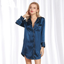 Silk Long Sleeved Plus Size Sleepshirts Button Nightie Female Summer Nightdress