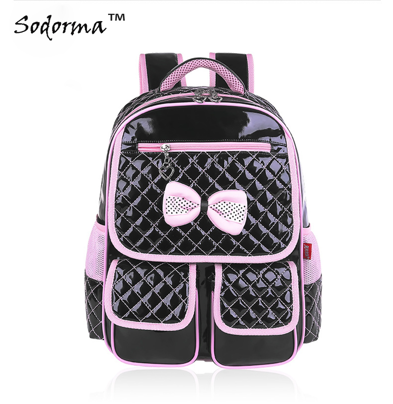 Waterproof Pu leather Bow tie Children school backpack girls primary school bag Healthy backbone protection for grade 1-6  hot sale high quality ultra light waterproof child school bag lovely children backpack girls backpack grade class 1 6
