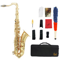 Brass Bb Tenor Saxophone Sax Carved Pattern Pearl White Shell Buttons Sax Tenor with Case Gloves Cleaning Cloth Belt Brush