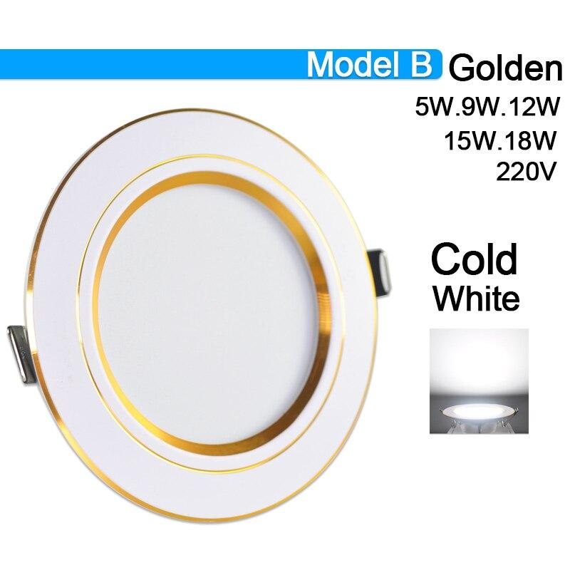 Потолочный светильник 3 Вт 5 Вт 9 Вт 12 Вт 15 Вт 18 Вт точечный светодиодный светильник AC 220 В золотистый, серебристый, белый ультратонкий алюминиевый круглый встраиваемый Светодиодный точечный светильник - Испускаемый цвет: Model B Cold White