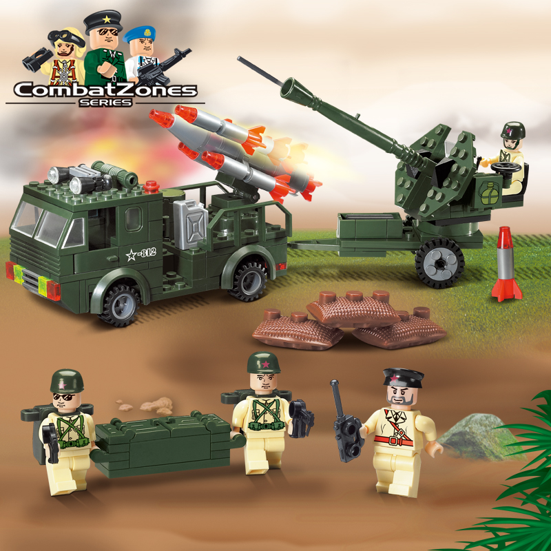Enlighten Military Educational Building Blocks Toys For Children Kids Gifts Army Truck Missile Compatible With Legoe 128pcs military field legion army tank educational bricks kids building blocks toys for boys children enlighten gift k2680 23030