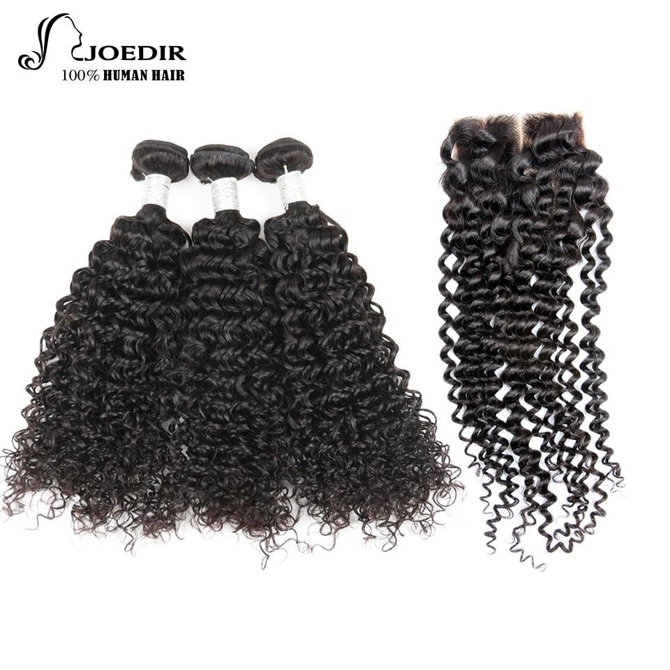 Joedir Human Hair Bundles With Closure Mongolian Kinky Curly 3 Bundles With Closure Non Remy Hair Free Part Free Shipping