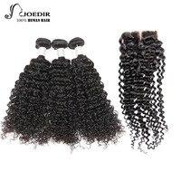 Joedir Pre-farbige Menschliches Haar Bundles Mit Closure Mongolischen Kinky-Curly 3 Bundles Mit Verschluss Remy Haar Freien Teil freies Schiff