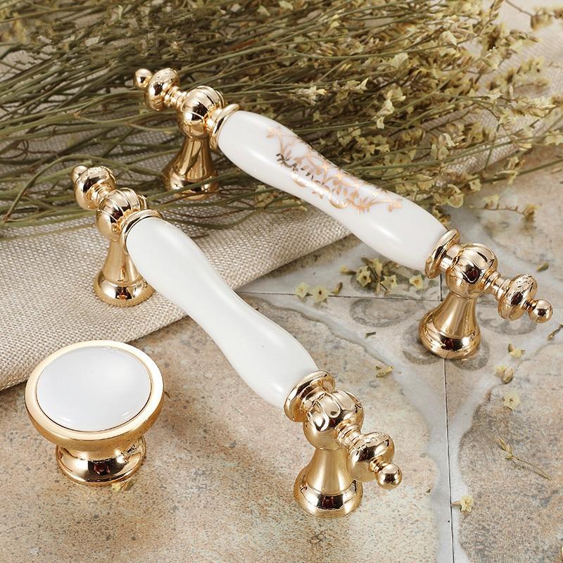 Manufacturers Wholesale Furniture Hardware Ceramic Handle European Style Kitchen CabinetThe Wardrobe Drawer  Handle  Brass Knob