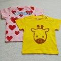 Бесплатная доставка милые девушки летняя одежда детская одежда 0-2 лет с коротким рукавом Футболка простой и мода горячие продаж