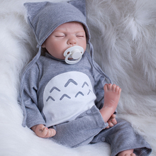 Gentle Touch 20 Inch 50 cm Sleeping Reborn Baby Dolls Lifelike Newborn Alive Babies Boy With Gray Romper Kids Birthday Xmas Gift