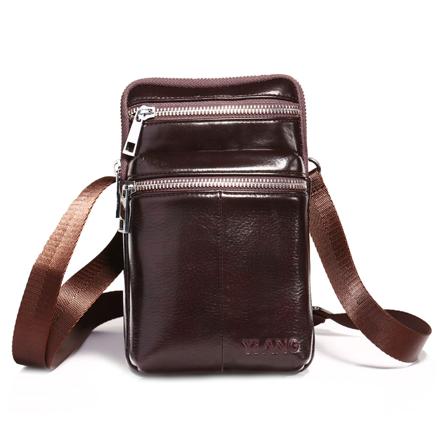 1c0c7b787b2 Brand YiANG 7  Cell Mobile Phone Punch Case Bag Men s Cowhide Leather  Hip Bum Belt Waist Pack Mini Shoulder Messenger Bags